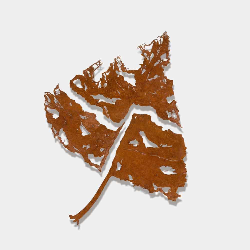 Metalen silhouet driedelig-populierenblad - kunstenaar Bas Berkelmans - Moergestel