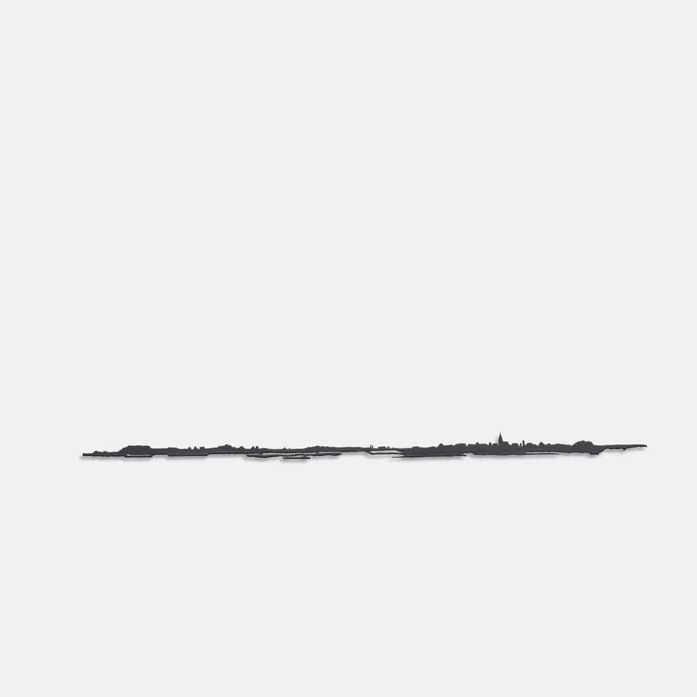 Metalen silhouet Landschap-kerk-klein - kunstwerk van Bas Berkelmans - Moergestel