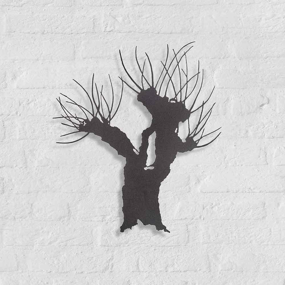 Metalen silhouet Knotwilg - kunstobject van Bas Berkelmans - Oisterwijk