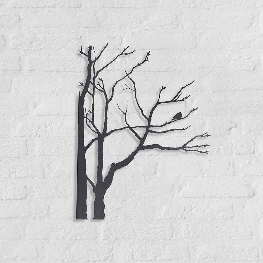 Metalen silhouet Wintertak-met-vogel - kunstobject Bas Berkelmans - Moergestel